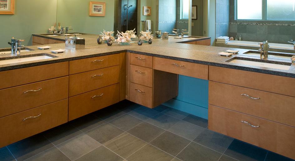 Burrows Cabinets Bathroom Photograph with slab veneer cabinet doors