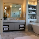 Burrows Cabinets modern gray bathroom vanity cabinets with SoCo doors