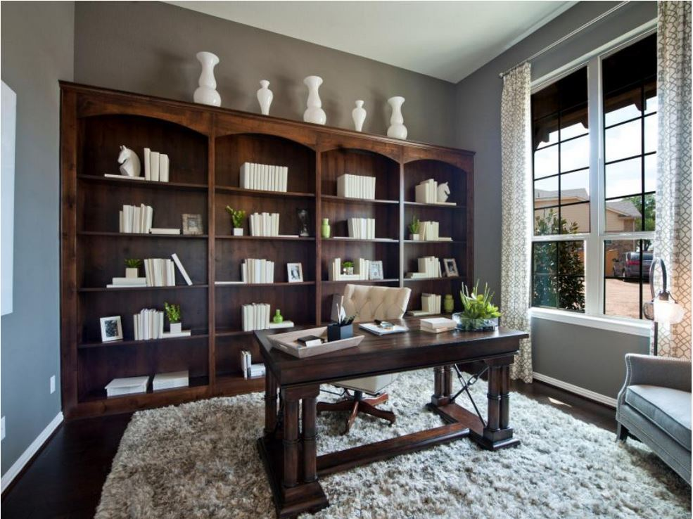 Burrows cabinets study with built in bookshelves in knotty Study room wall cabinets