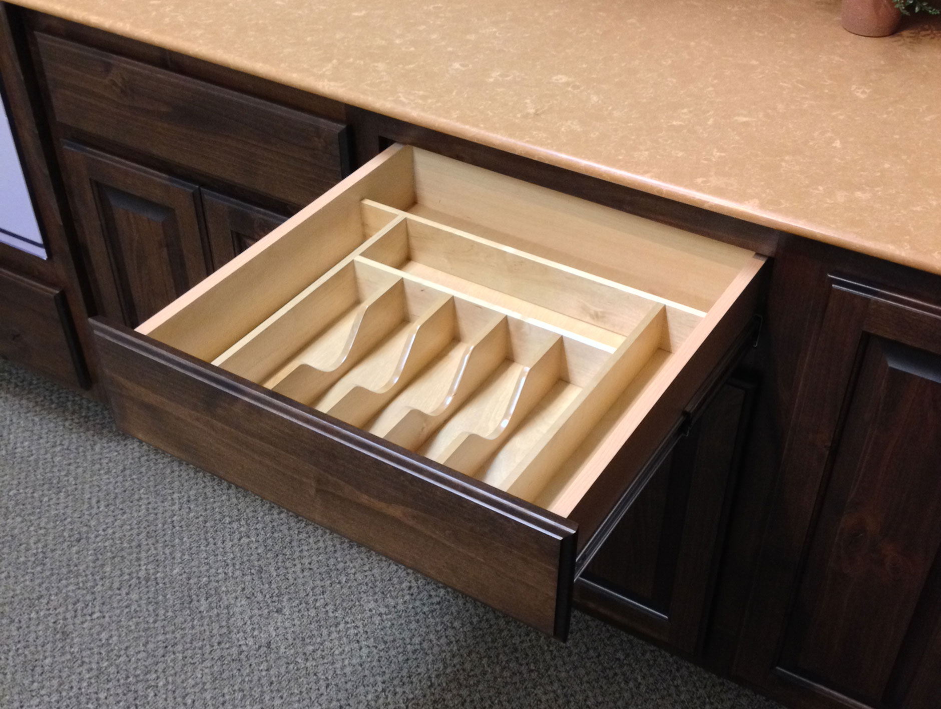 Silverware and cutlery drawer insert burrows cabinets for Silverware storage no drawers