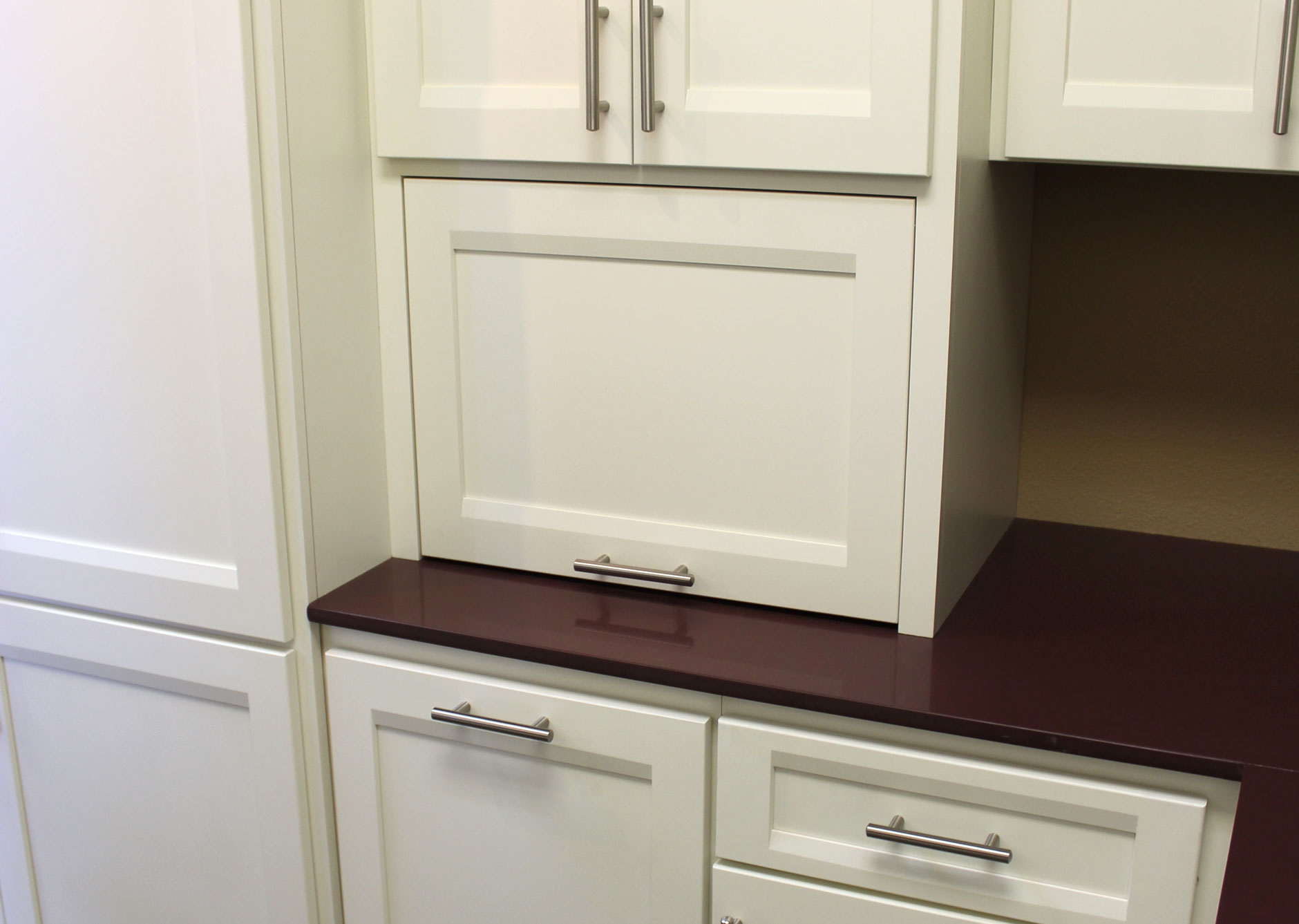Appliance storage burrows cabinets central texas for Appliance garage kitchen cabinets
