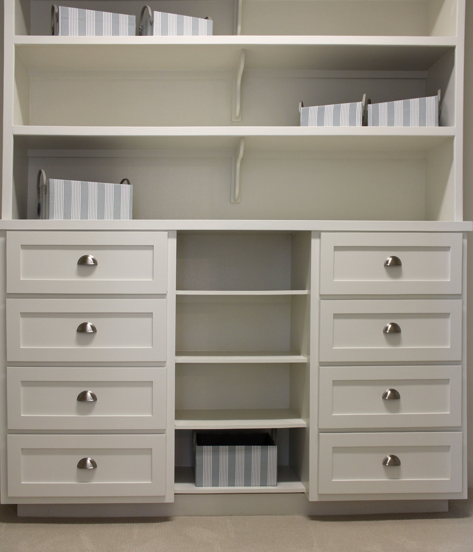 Burrows Cabinets closet storage with drawers & Closet storage with white shaker style drawer fronts