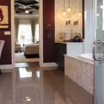 Master bath cabinets in Umber with bumped up height by Burrows Cabinets