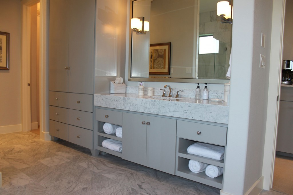 Modern Master Bath Cabinets In Gray With Soco Doors And Tall Towel Linen Storage