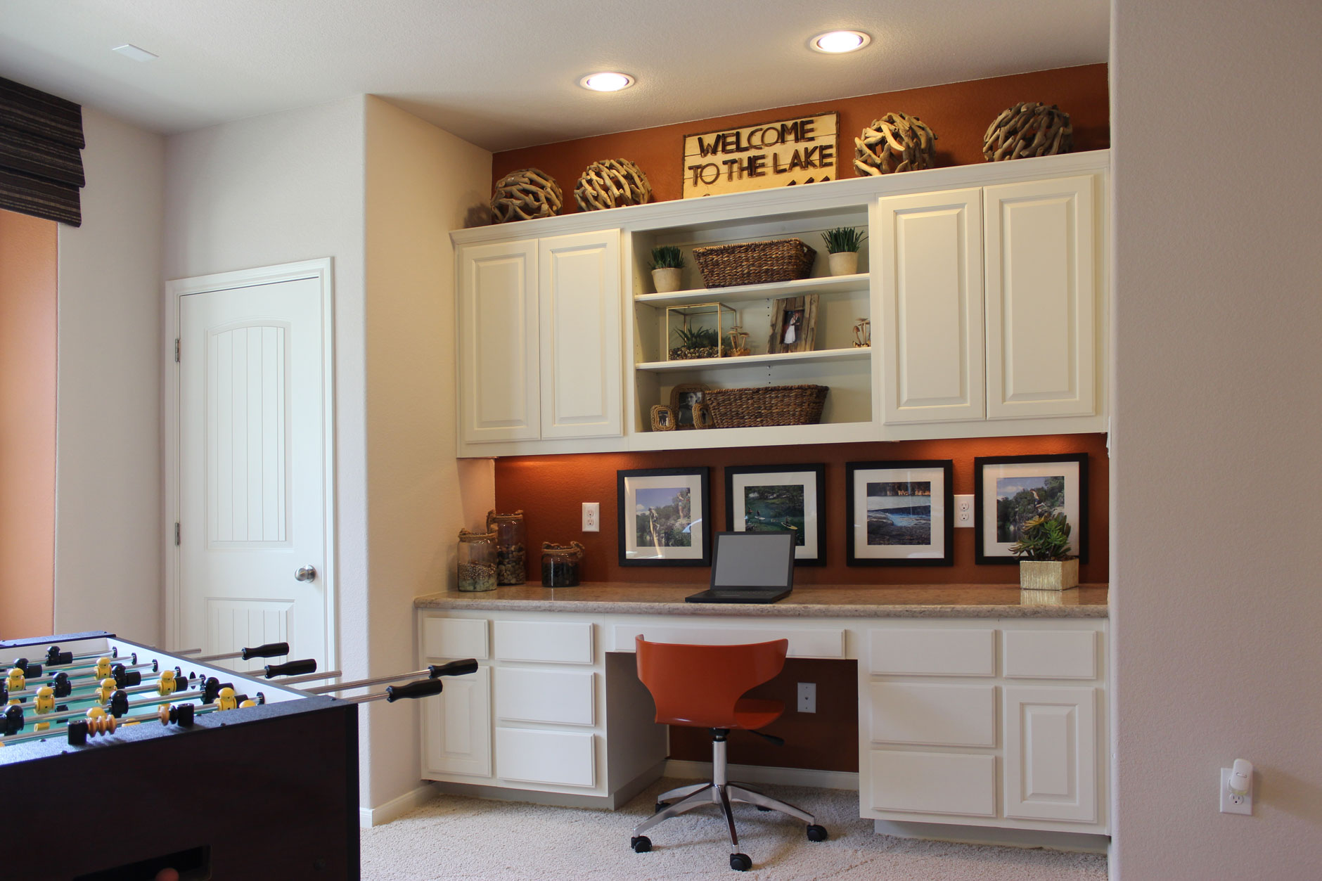 Game room desk in bone white by Burrows Cabinets