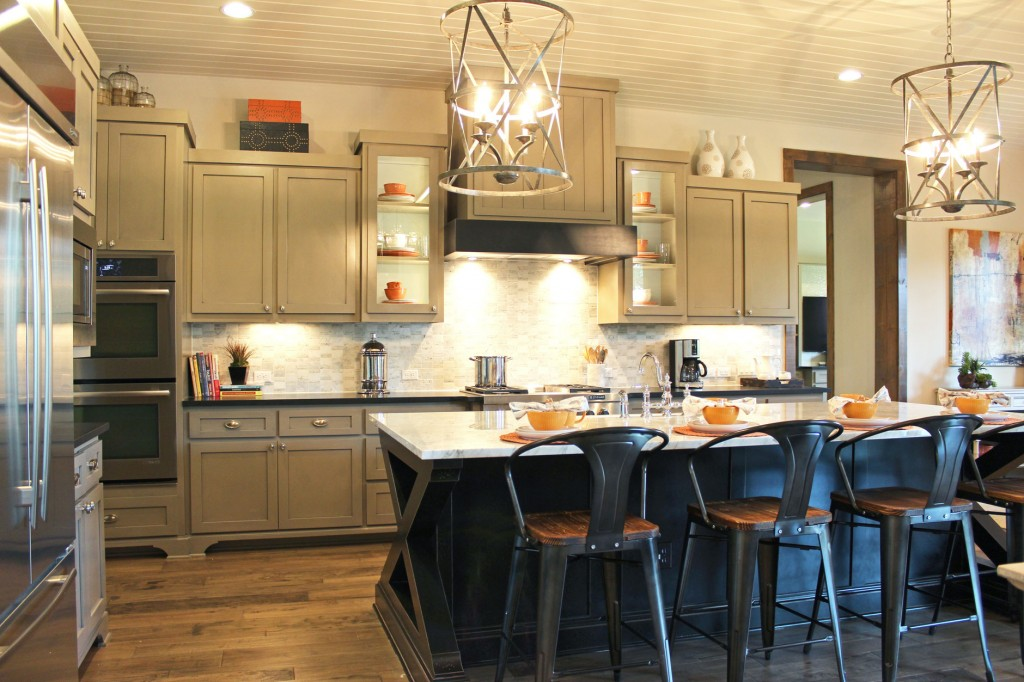 ... Burrows Cabinets Kitchen With Black Island And Gray Wall Cabinets, Wood  Vent Hood And Modern ...