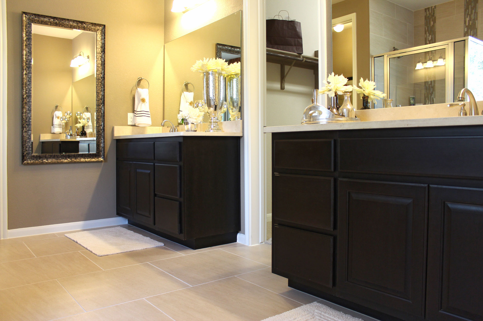 Bathroom burrows cabinets central texas builder direct for Espresso bathroom ideas