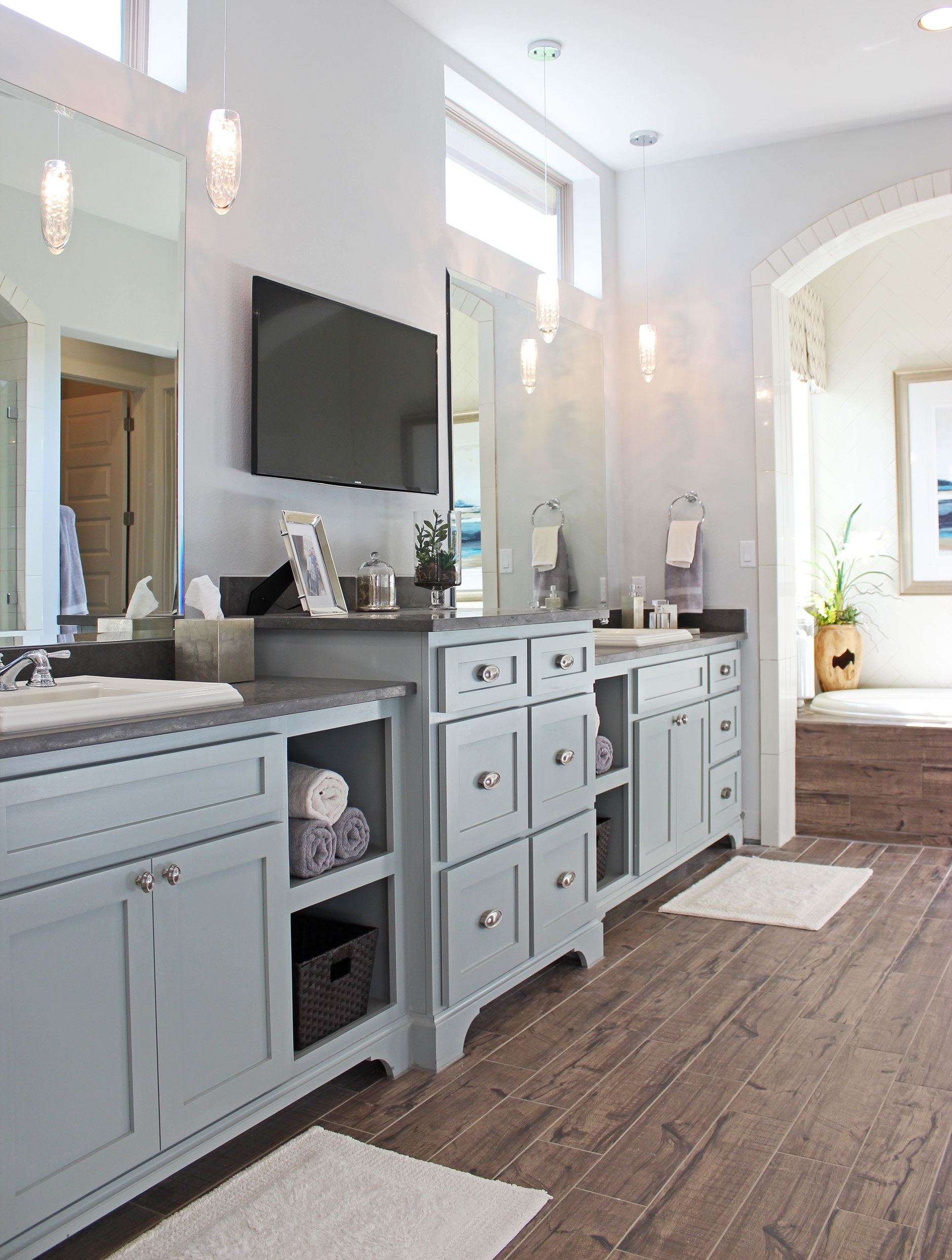 Bathroom burrows cabinets central texas builder direct for Grey blue white kitchen