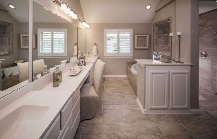 Burrows Cabinets' master bath in Frost white