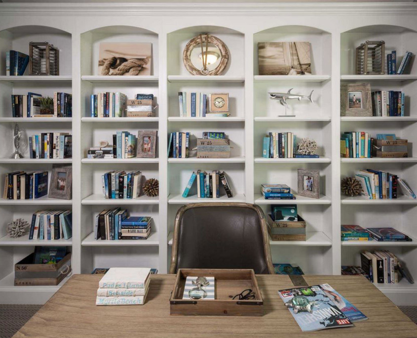 Burrows Cabinets' built-in office bookshelf in Frost white