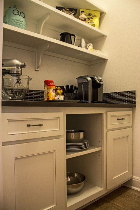 Burrows Cabinets' butler's pantry with Kensington doors and open shelves