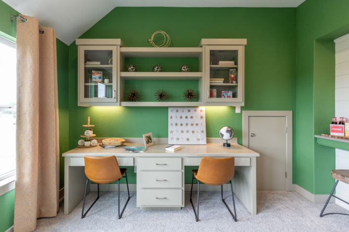 Custom Desk and Wall Cabinet with Shelves