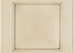Burrows Cabinets' Flat Panel in Bone with brown glaze