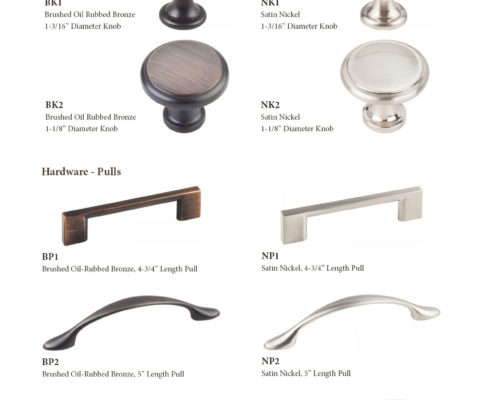 Burrows Cabinets hardware knobs and pull selection