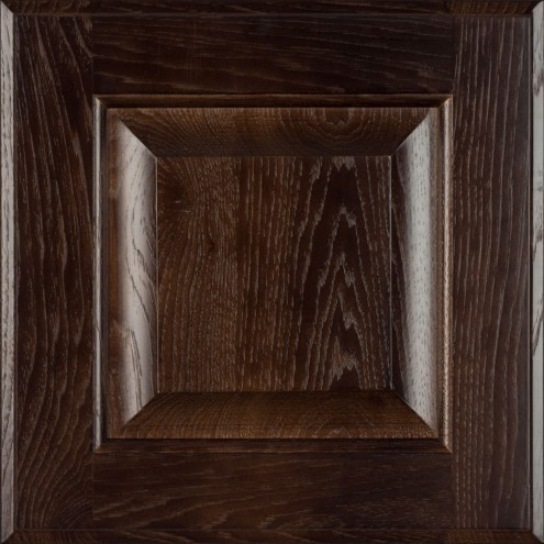 Burrows Cabinets' hickory raised panel door in Kona