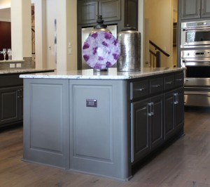 Burrows Cabinets kitchen island in Umber with rounded integrated corner option (C) 2014 Burrows Cabinets
