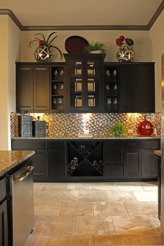 Burrows Cabinets kitchen in Beech - Rye with Briscoe door style and big x wine rack, open shelves and glass doors