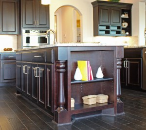 Burrows Cabinets kitchen island in Espresso with built in bookshelf