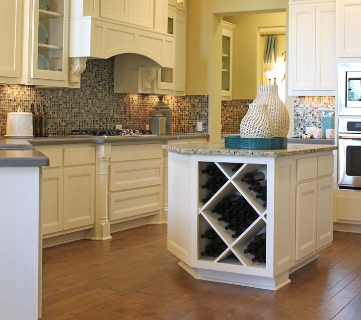 Burrows Cabinets Kitchen Island with Big X wine rack in Bone