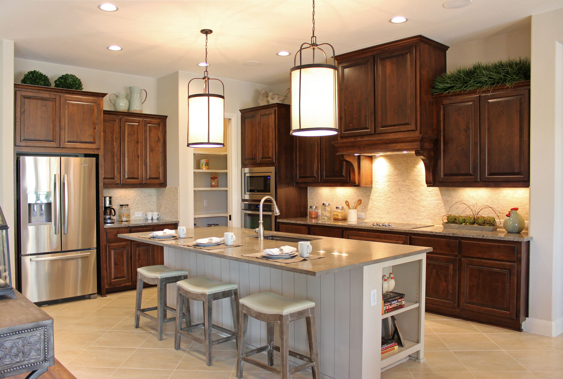 burrows cabinets kitchen in knotty alder w custom vent hood - Alder Kitchen Cabinets