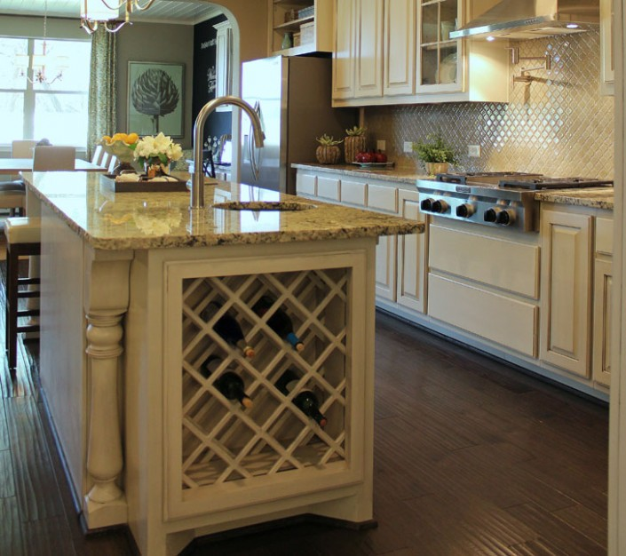 Burrows Cabinets kitchen island with lattice wine rack in bone with black glaze (C) 2014 Burrows Cabinets