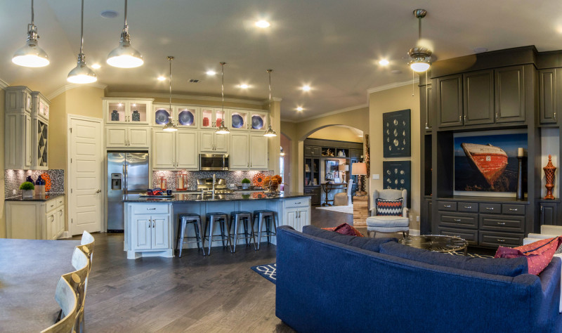 Burrows Cabinets' kitchen, living room and study cabinets in Bone white with brown glaze and Umber gray