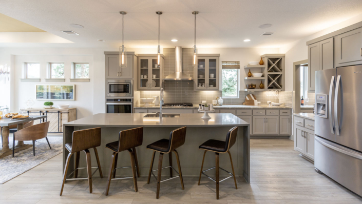 Ktchen in Dorian with floating shelves and Big X storage by Burrows Cabinets