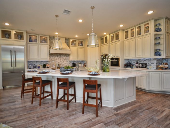 Burrows Cabinets kitchen with raised panel doors in bone white with black glaze