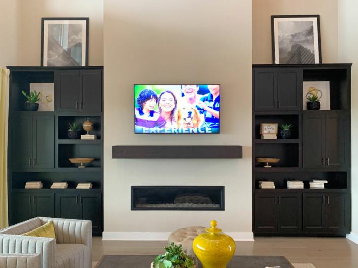 Living room built-in cabinets in Beech Espresso with Briscoe doors