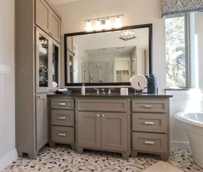Bath cabinets bumped out with tall linen cabinet dallas feet