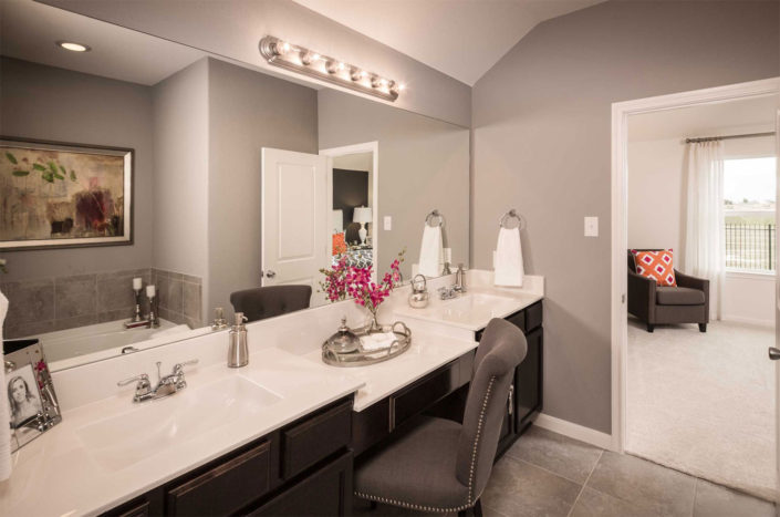 Master bath with flat panel doors by Burrows Cabinets