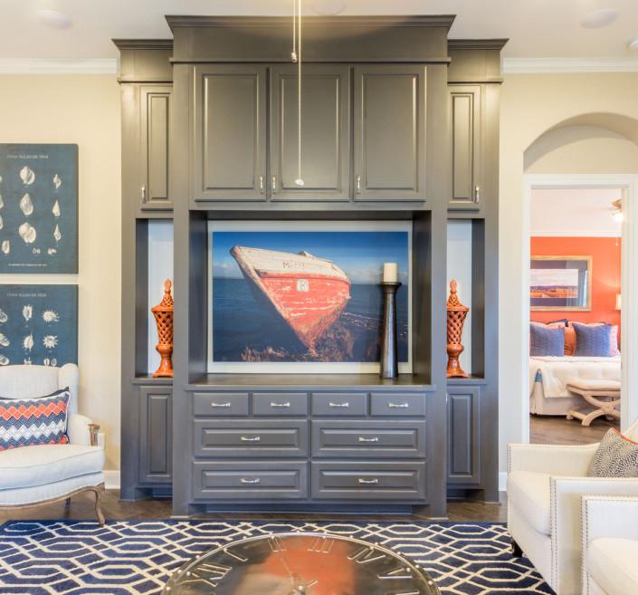 Burrows Cabinets' gray media cabinet