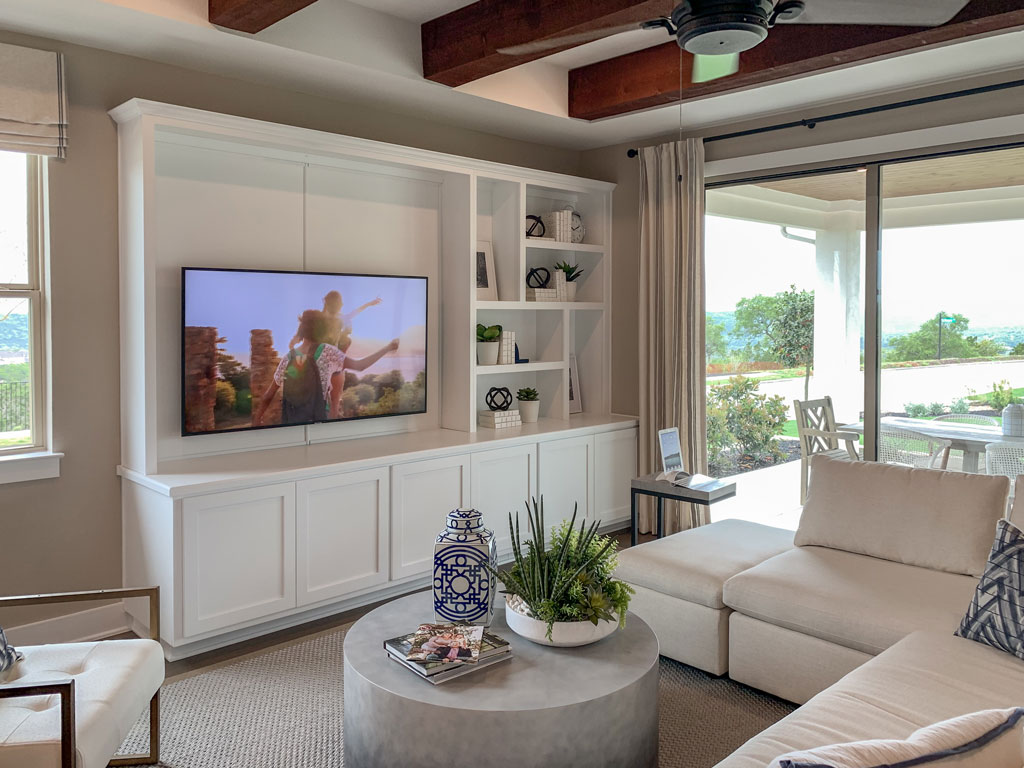 Media cabinet in Frost by Burrows Cabinets with Shaker doors