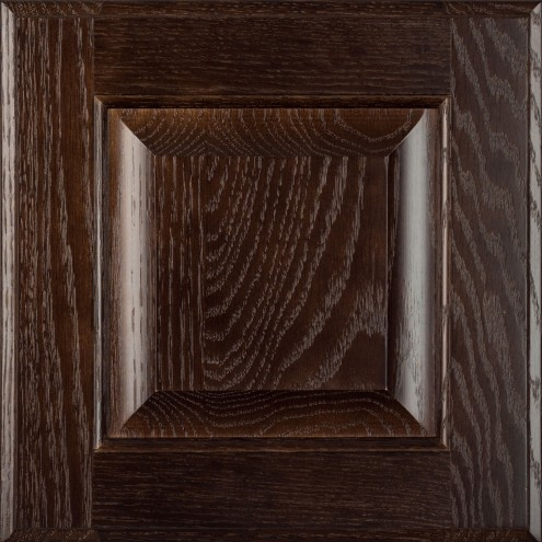 Burrows Cabinets' red oak raised panel door in Kona