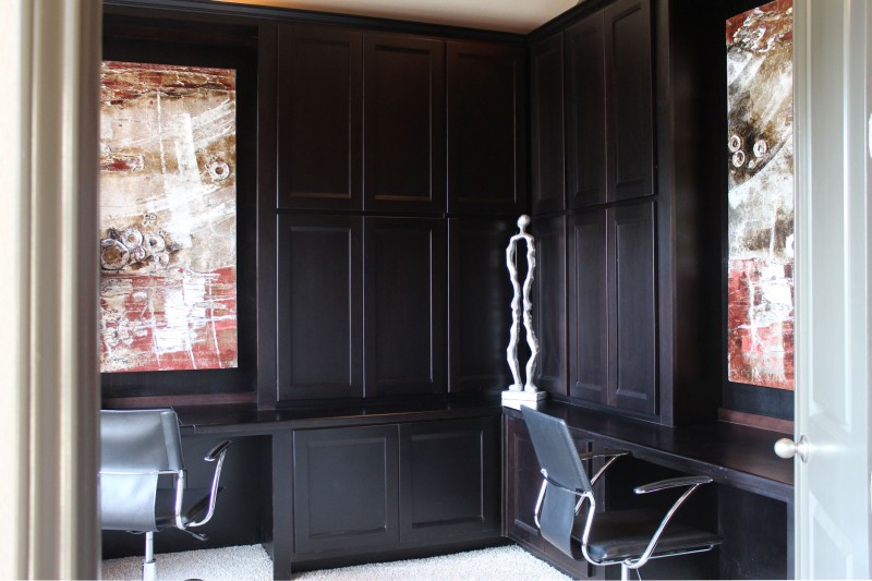 Burrows Cabinets' built-in tall office cabinets in Beech - Rye with Briscoe doors and two desks