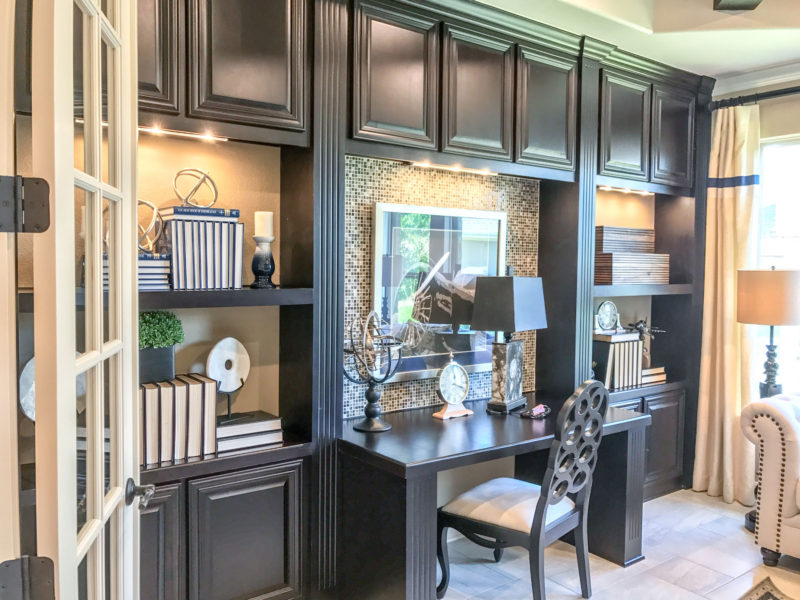 Built-in office cabinets with Wilmington Beech Espresso