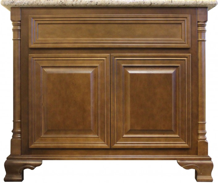 Burrows Cabinets vanity with decorative corners, decorative platform and kimrick feet